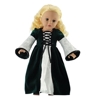18-inch Doll Clothes - Green Velvet Medieval Gown with Ivory Satin Trim - fits American Girl ® Dolls