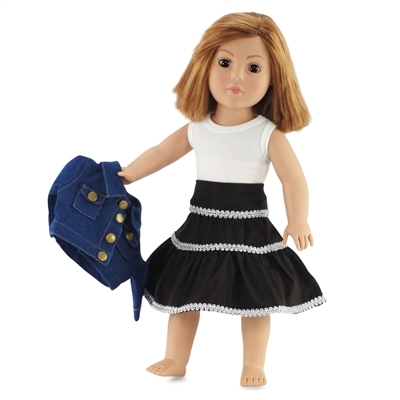 18-inch Doll Clothes - Denim Jacket, White Shirt, and Brown Skirt - fits American Girl ® Dolls