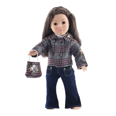 18-inch Doll Clothes - Jeans, Plaid Jacket, Purse, and White Shirt - fits American Girl ® Dolls