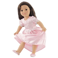 18-inch Doll Clothes - Pink Satin Nightgown with Slippers - fits American Girl ® Dolls