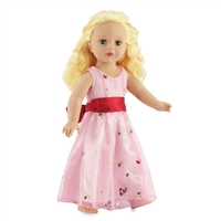 18-inch Doll Clothes - Pink Party Dress with Overlay and Red Bow - fits American Girl ® Dolls