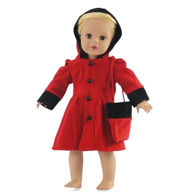 18-inch Doll Clothes - Formal Winter Hooded Coat with Purse - fits American Girl ® Dolls
