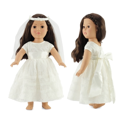 18-inch Doll Clothes - Communion Dress with Headpiece and Bow - fits American Girl ® Dolls