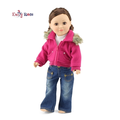 18-inch Doll Clothes - Fur Jacket, Jeans, and Tee Shirt - fits American Girl ® Dolls