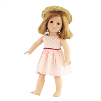 18-inch Doll Clothes - Polka-Dotted Dress with Straw Hat - fits American Girl ® Dolls