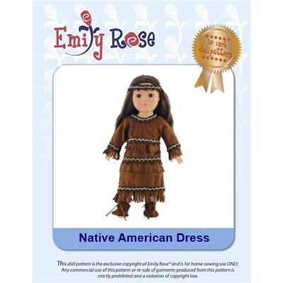 18-Inch Doll Clothes Pattern - Native American Outfit - Downloaded to your computer
