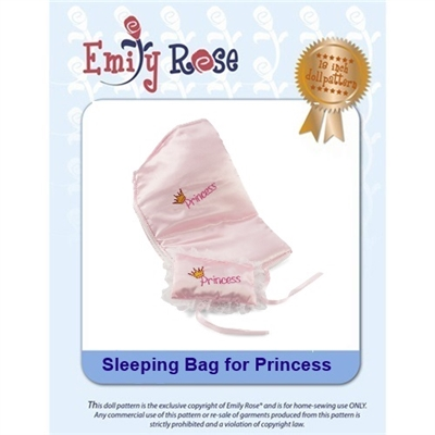 18-Inch Doll Clothes Pattern - Princess Sleeping Bag - Downloaded to your computer