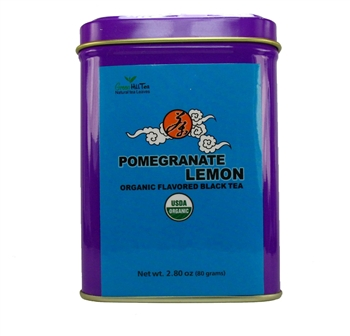 organic pomegranate lemon tea tins