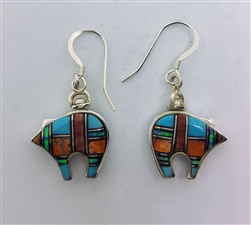 Dual Inlay Multistone Bear Earrings