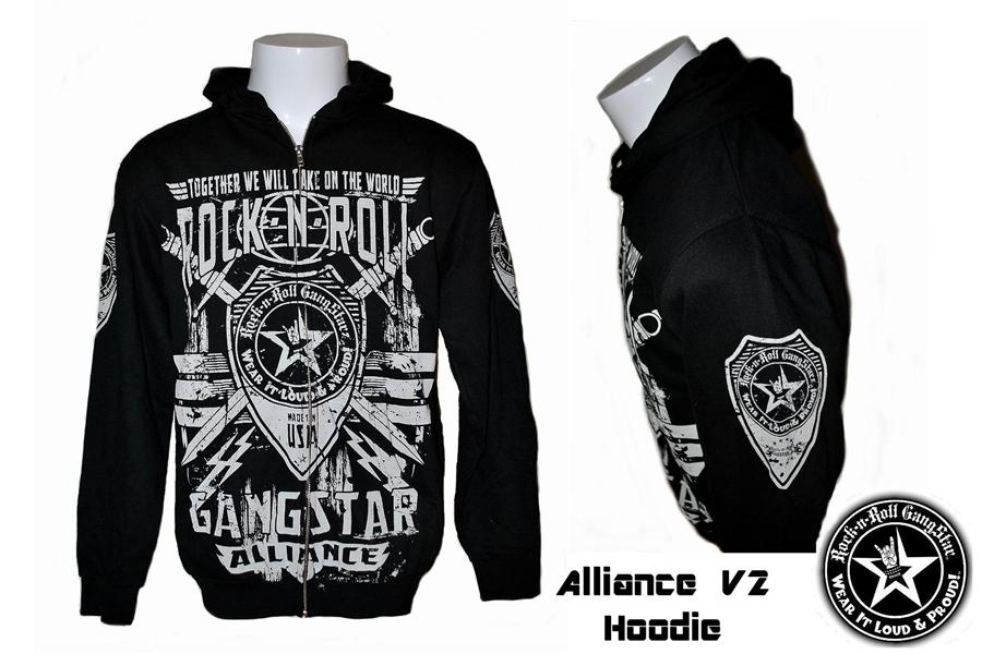 Alliance V2 zip hoodie jacket sweatshirt Heavy Metal Rock and Roll ...