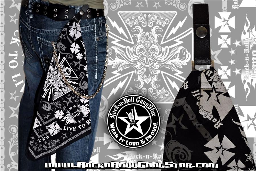 custom belt loop snap biker cross bandana rock n roll heavy metal clothing accessories rock n. Black Bedroom Furniture Sets. Home Design Ideas