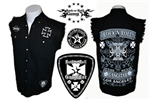 Biker Cross denim cut off sleeveless shirt Rock n Roll Heavy Metal clothing shirt Rock n Roll GangStar