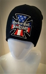 Red White & Blue Iron Cross Stretch Beanie Biker Heavy Metal Stocking Cap Winter Hat Rock and Roll Heavy Metal Biker clothing apparel accessories lifestyle Rock n Roll GangStar Apparel