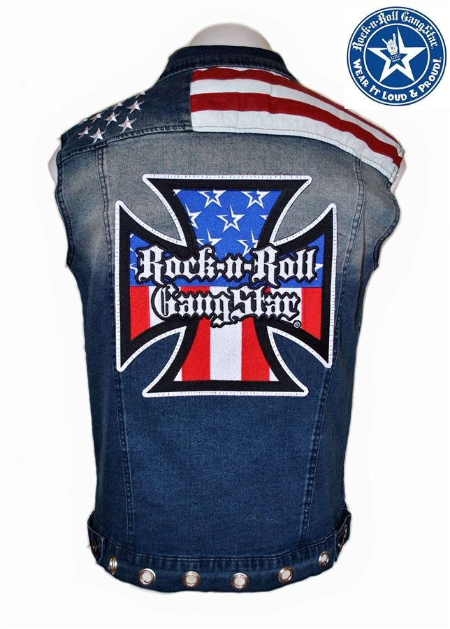 mens custom denim red white blue biker vest rock and roll heavy metal clothing accessories. Black Bedroom Furniture Sets. Home Design Ideas