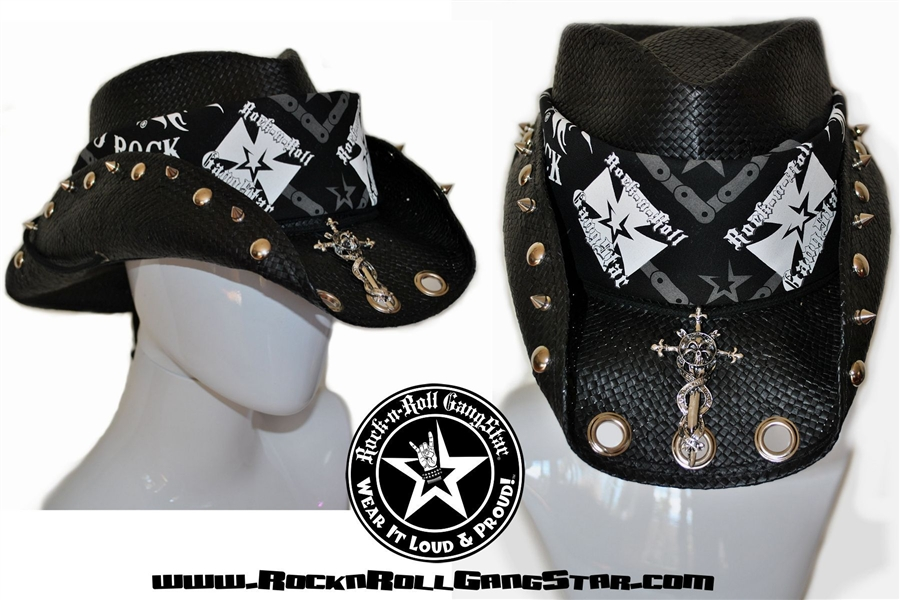 Custom Shapeable Cowboy Hat Black Version 1 Rock And Roll