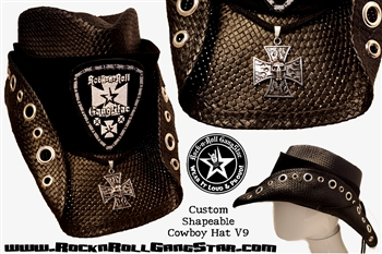 Custom Shapeable Cowboy Hat black version 9 Rock and Roll Heavy Metal hats accessories