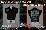 Rock Angel Devil Girls Denim Cut Off Biker Shirt
