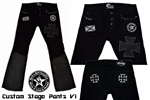 Custom Stage Pants with leather & patch work FREE Shipping Rock and Roll Heavy Metal clothing & accessories - Black