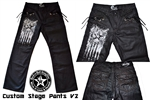 Custom Stage Pants with grommet & suede lacing work FREE Shipping Rock and Roll Heavy Metal clothing & accessories