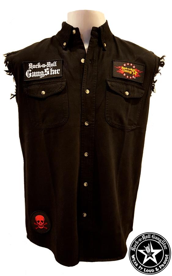 snakes n skull denim cut off sleeveless biker shirt rock n