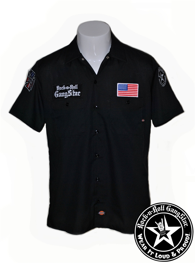 Uncle sam custom dickies work shirt hard rock heavy metal for Embroidered dickies work shirts