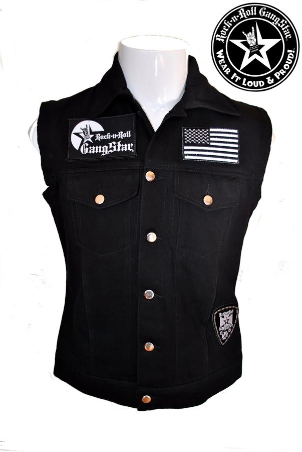 Biker Vest Patches >> Wear It Loud & Proud! tm denim biker vest with custom patch work silver & black Rock n Roll ...