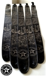 Wear It Loud & Proud! tm Gray on Black Leather Guitar Strap rock and roll heavy metal guitar accessories