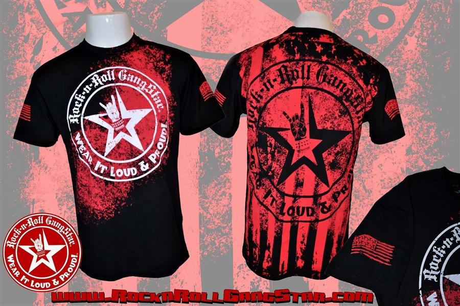 wear it loud proud stars stripes mens t shirt black rock n roll heavy metal biker clothing. Black Bedroom Furniture Sets. Home Design Ideas