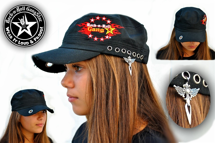 custom military style hat rock n roll heavy metal clothing accessories. Black Bedroom Furniture Sets. Home Design Ideas