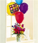 Flowers and Balloons Bouquet Gift Basket