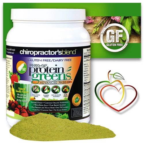 <strong>GLUTEN FREE DAIRY FREE PH50 Protein Greens Advanced!<BR><i>Natural Vanilla Flavor - Nature's Superfood</strong></i>