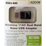 Addon Wireless AC Dual Band 1300Mbps Nano USB Adapter (AWU-G30)