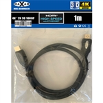 MAXAM 1M HDMI Cable M-M 28AWG Gold ver1.4 (Polybag) Retai1