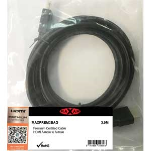MAXAM Certified Premium HDMI M-M Cable Gold ver1.4 Retail (Polybag) 3M
