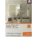 MiTEC USB Mains Charger with Multi Tip 1A