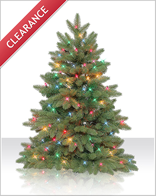 3 Foot Columbia Valley Slim Fir Christmas Tree with Multi Lights
