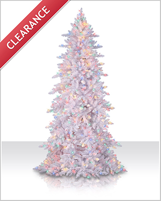 7.5 Foot Flocked White Fir Tree with multi lights