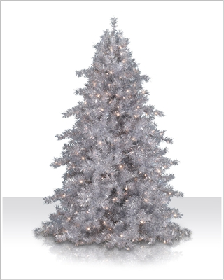 6 Foot Narrow Silver Tinsel Tree with clear lights