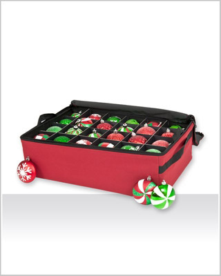 Santa's Christmas Ornament Storage Organizer with 2 Trays