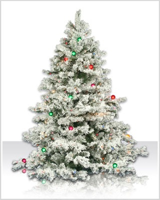 6.5 Foot Flocked Alaskan Christmas Tree With Multi Lights