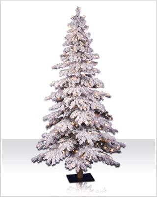 5 Foot Flocked Pre lit Spruce Christmas Tree with Clear Lights