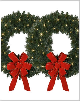 24 Inch Mountain Mixed Pine Wreaths and Garlands with Clear Lights