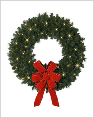 36 Inch Mountain Mixed Pine Wreaths and Garlands with Clear Lights