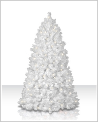 10 Foot Shimmering White Artificial Christmas Trees with Clear Lights