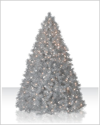6 Foot Silver Tinsel Clear Christmas Tree