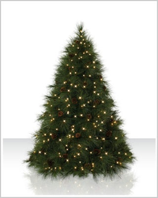 7 Foot Ponderosa Needle Pine Artificial Christmas Trees with Clear Lights