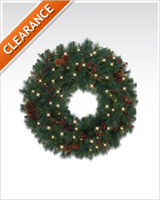 30 Inches Princeton Pine Artificial Christmas Wreath with Clear Lights