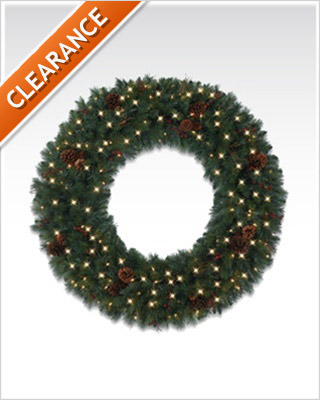48 Inches Princeton Pine Artificial Christmas Wreaths with Clear Lights