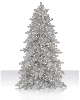 7 ft Narrow Silver Tinsel Clear Christmas Tree