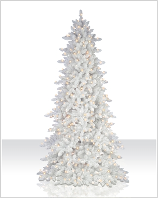 6.5 Foot Colored Flocked White Christmas Tree